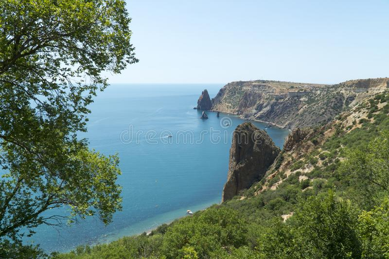 Fiolent Cape Sevastopol Coastline Bay Crimea. N mountains royalty free stock photography