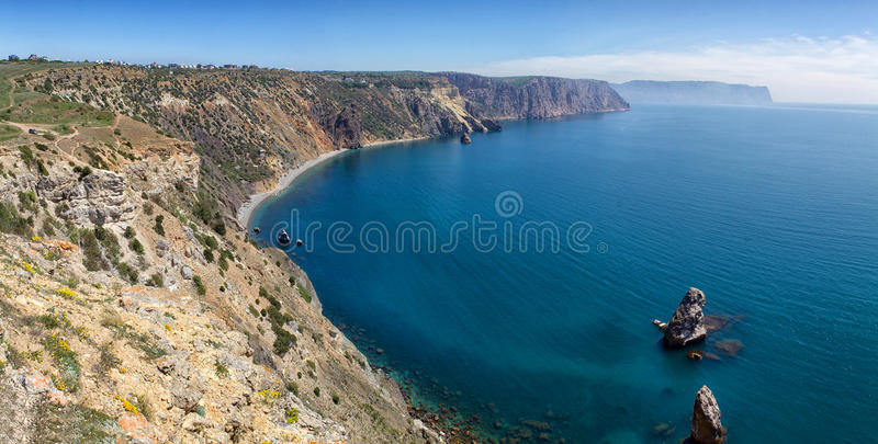 Fiolent cape. Sunny view of the Black Sea. Crimea royalty free stock photos