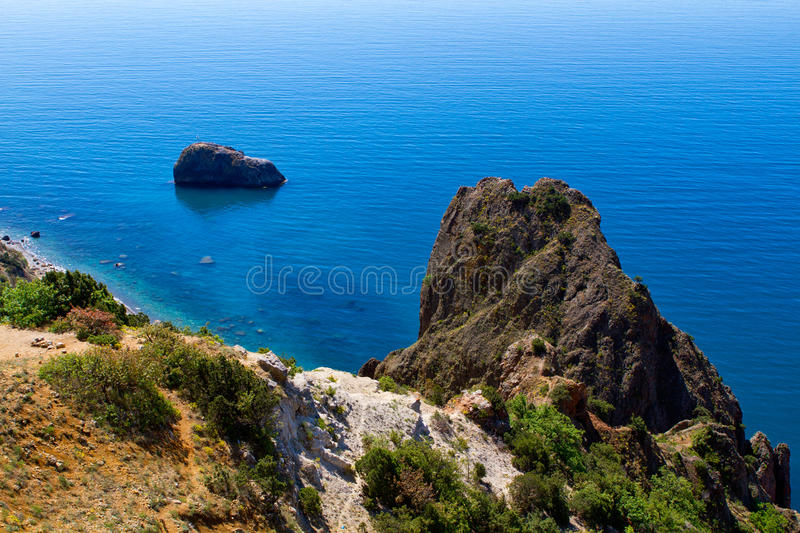 Fiolent cape. Sunny view of the Black Sea. Crimea stock photography