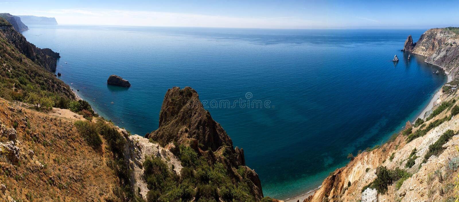 Fiolent cape. Sunny view of the Black Sea. Crimea royalty free stock image