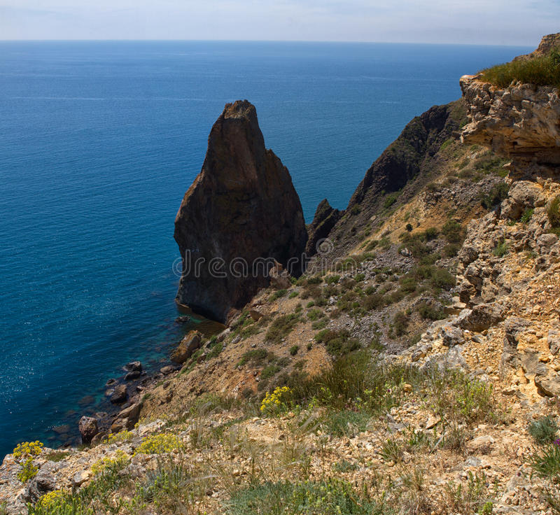 Fiolent cape. Sunny view of the Black Sea. Crimea royalty free stock photography