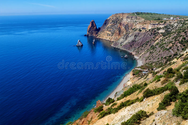 Fiolent cape. Sunny view of the Black Sea. Crimea stock images