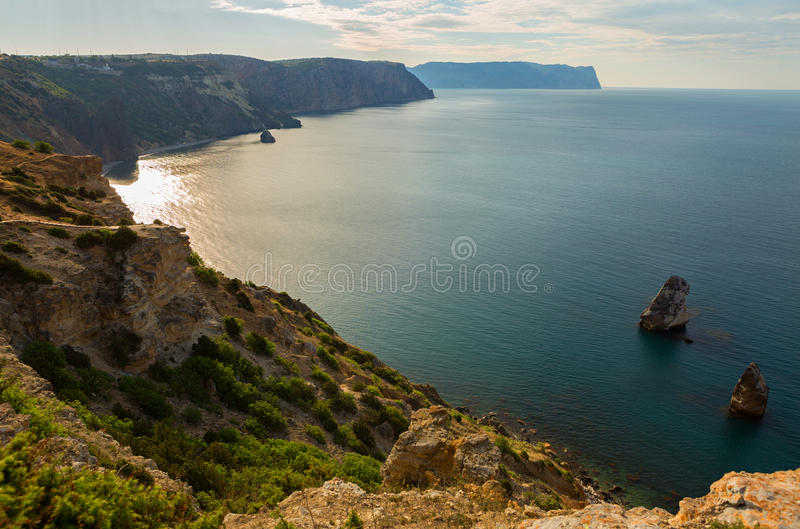 Fiolent cape. Sunny view of the Black Sea. Heraclean peninsula on the southwest coast of Crimea. Balaclava district of Sevastopol royalty free stock photos