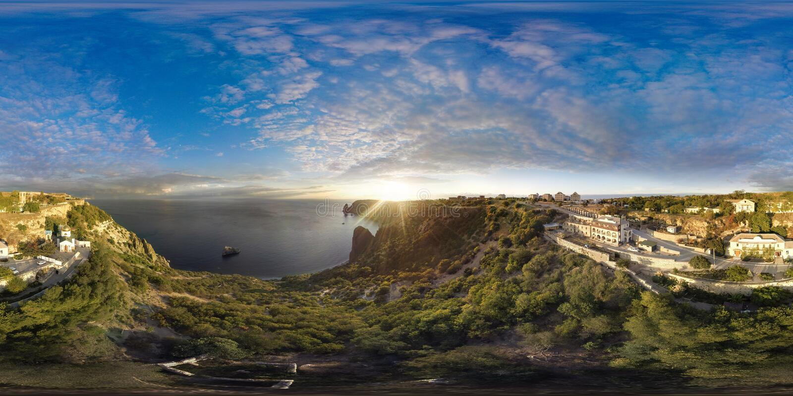 Fiolent. Crimea. Panorama 360 degree air. Sunset royalty free stock image