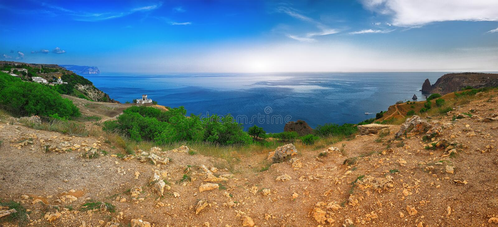 Fiolent , Crimea - sea landscape. Sea view - Mountains surround the bay. Pushkin's memorial royalty free stock photography