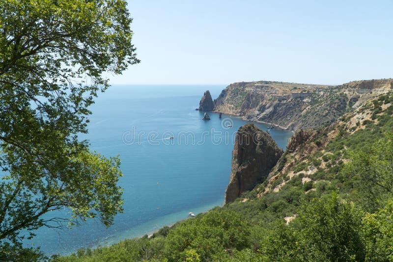 Fiolent-Kap-Sewastopol-Küstenlinien-Bucht Krim lizenzfreie stockfotografie