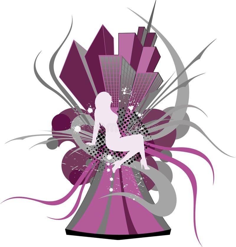 Download Fiolet stad vector illustratie. Illustratie bestaande uit grafisch - 10779303