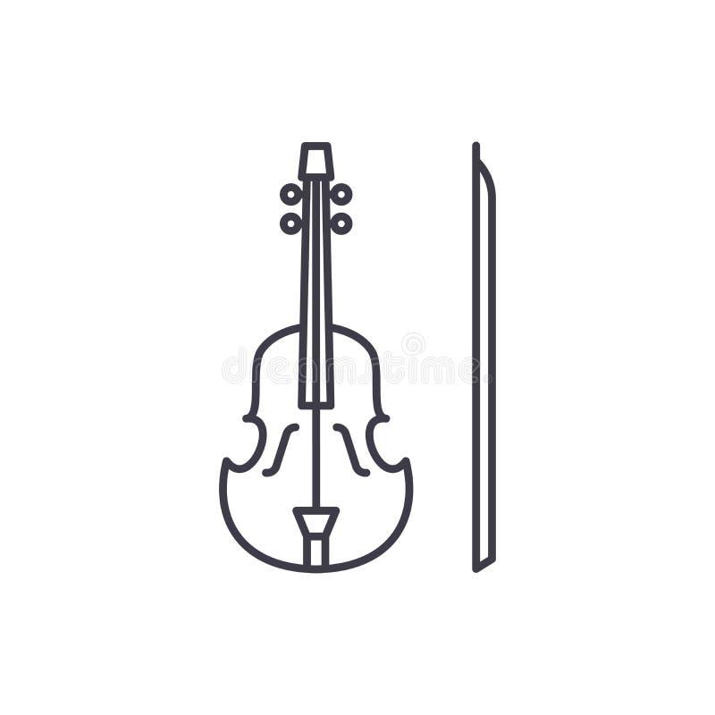 Fiollinje symbolsbegrepp Linjär illustration för fiolvektor, symbol, tecken vektor illustrationer