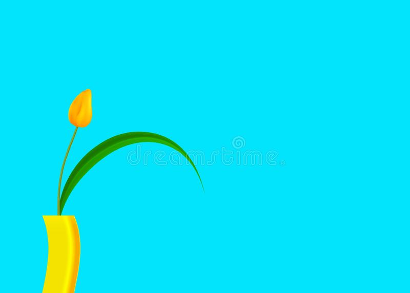 Still life of tulip yellow with bright colored on trendy turquoise background, vector fashion illustration isolated on blue royalty free illustration