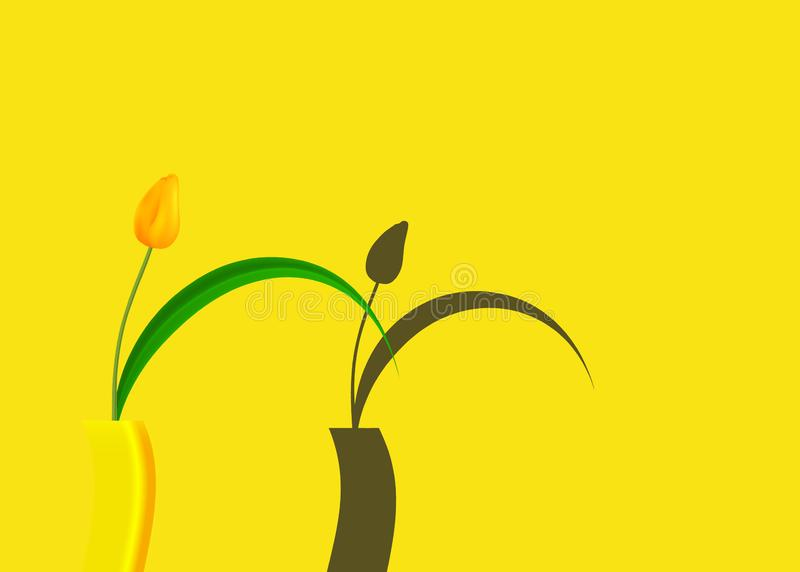 Still life of tulip yellow casting shadows against bright colored on trendy yellow background, vector fashion illustration isolate stock illustration