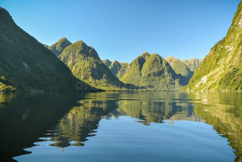 Fiord dudoso de los sonidos lejos de la civilización en Nueva Zelanda fotos de archivo