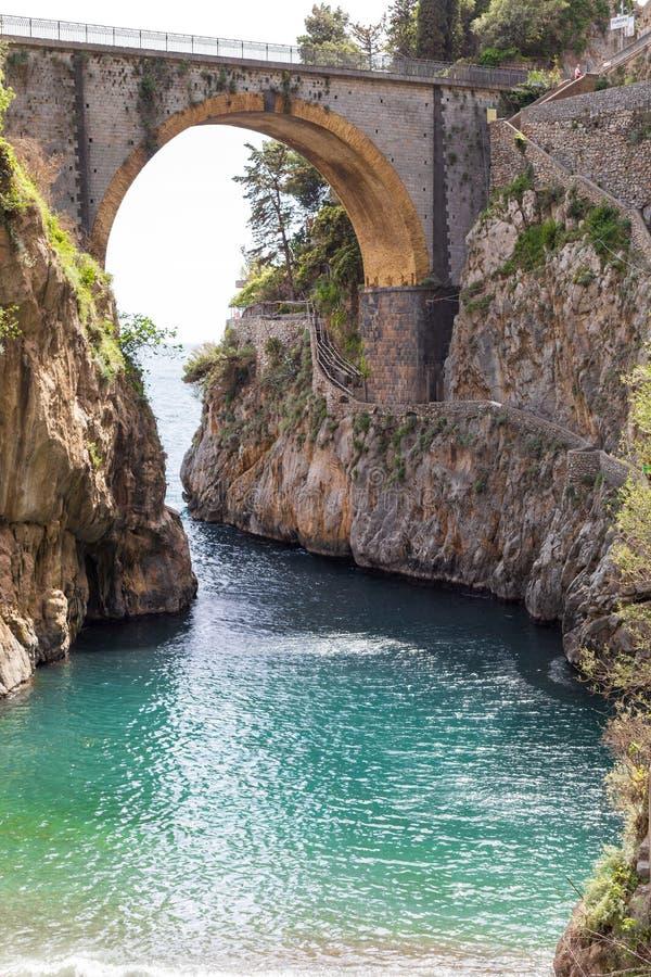 Fiordo di Furore海滩 狂怒海湾,阿马尔菲海岸,波西塔诺,那不勒斯意大利 库存图片