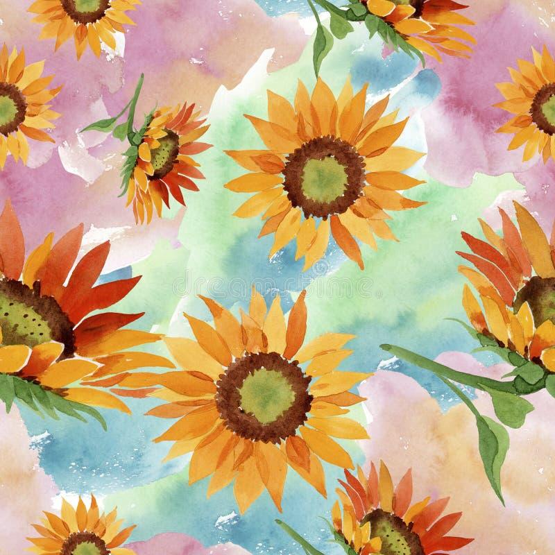 Fiore arancio del girasole dell'acquerello Fiore botanico floreale Modello senza cuciture del fondo illustrazione di stock