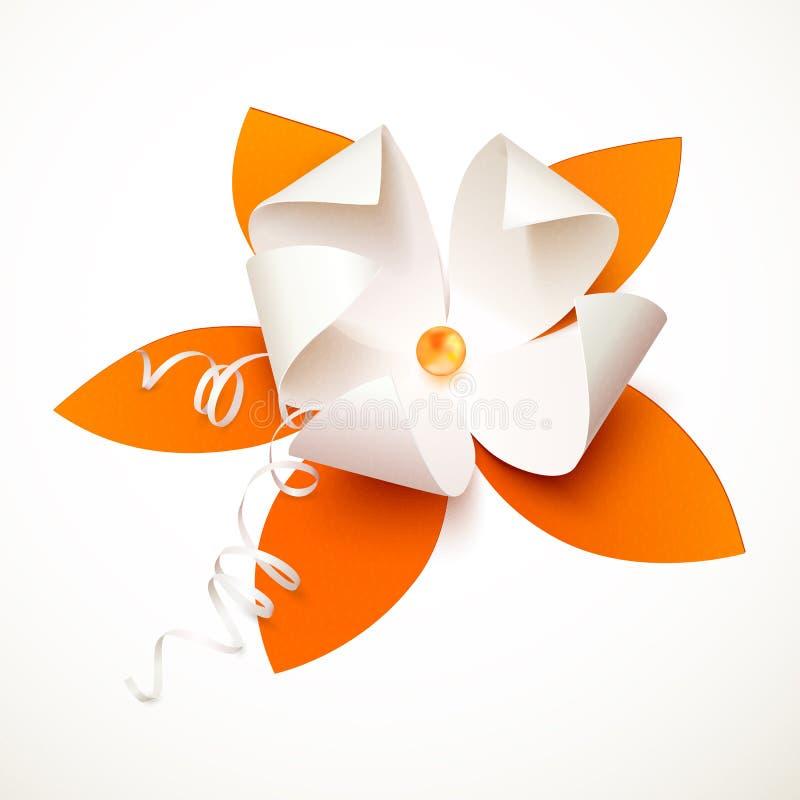 Fiore arancio di vettore della carta del ritaglio illustrazione di stock