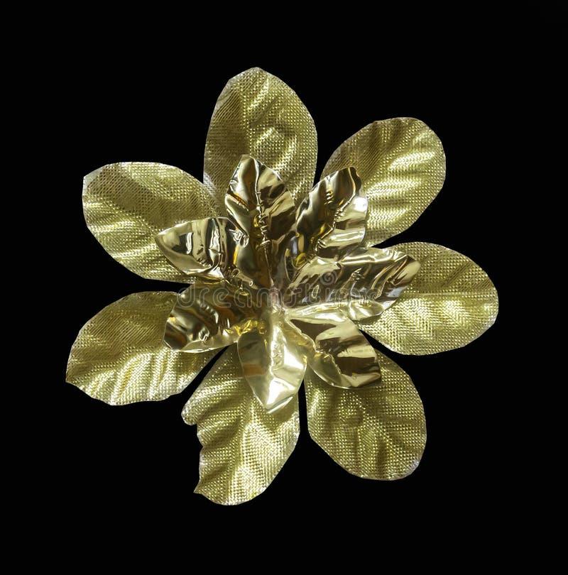 Fiore artificiale dorato isolato immagini stock libere da diritti