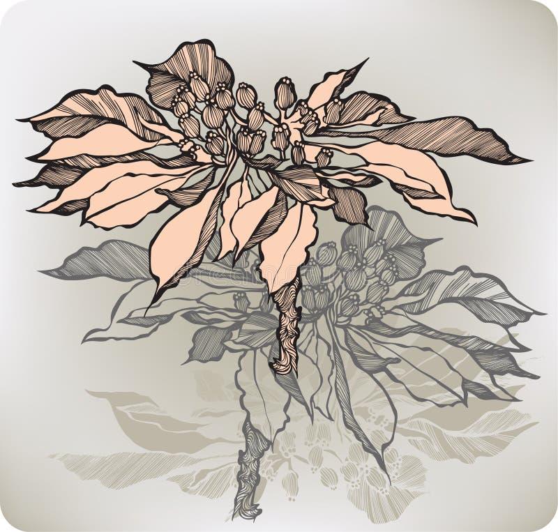 Fiore astratto con le bacche, a mano disegno Illustrazione di vettore royalty illustrazione gratis