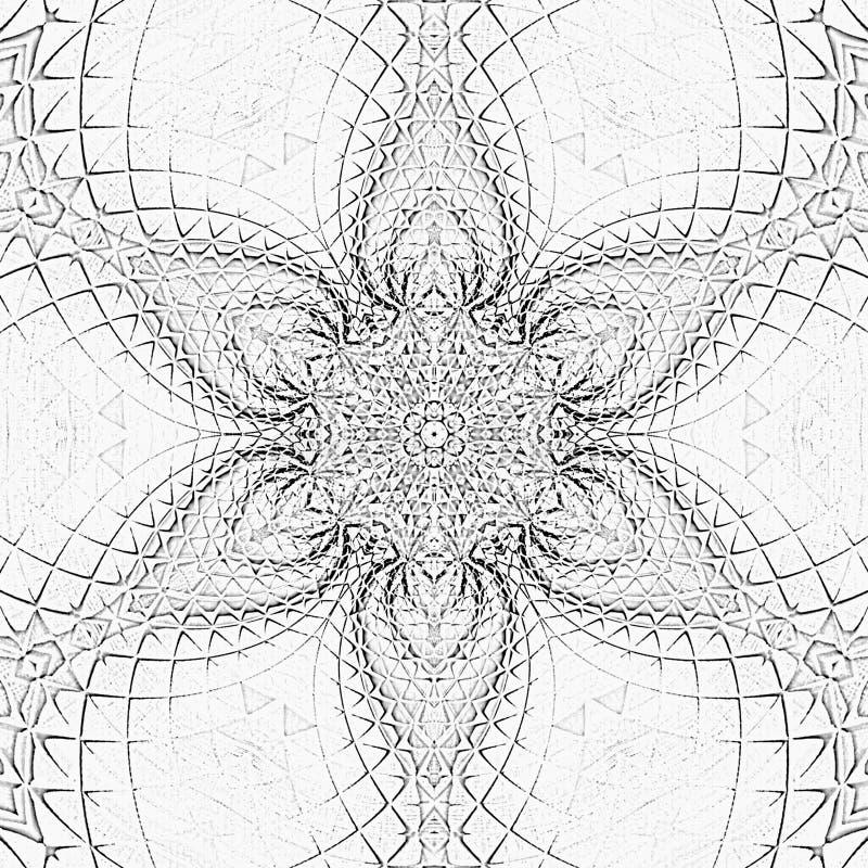 Fiore astratto monocromatico di arabesque della mandala delle mattonelle royalty illustrazione gratis