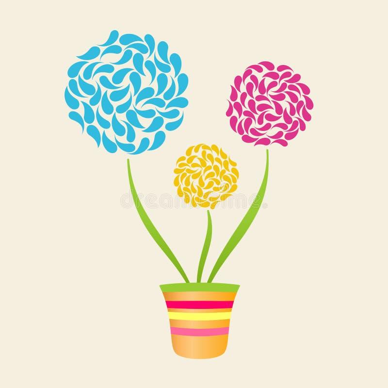 Fiore astratto in POT, priorità bassa del Flowerpot illustrazione vettoriale