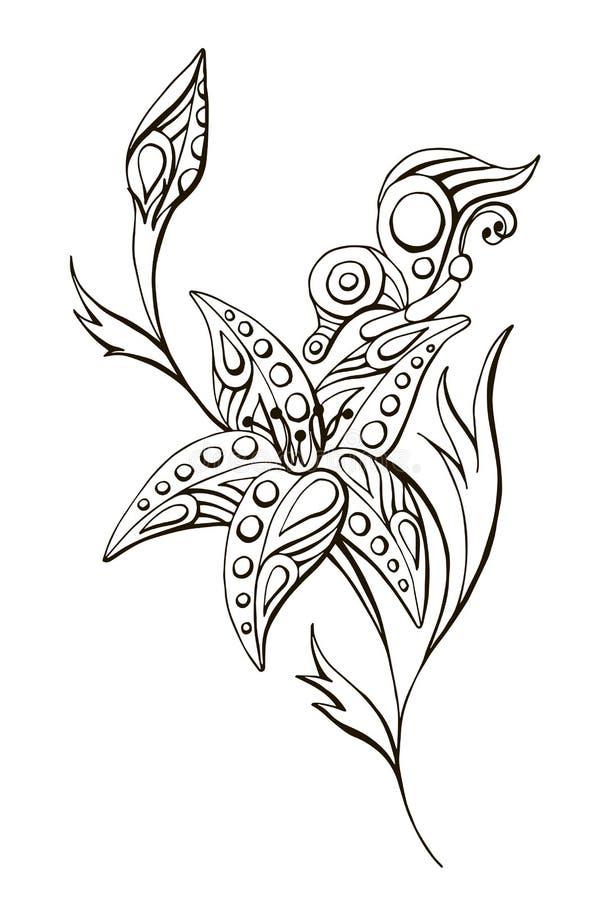 Fiore in bianco e nero lineare dipinto di vettore con la farfalla illustrazione di stock