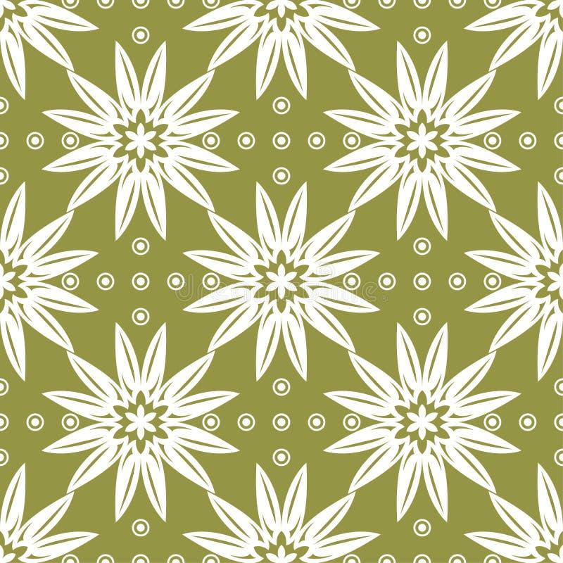 Fiore bianco sul fondo di verde verde oliva Reticolo senza giunte illustrazione di stock