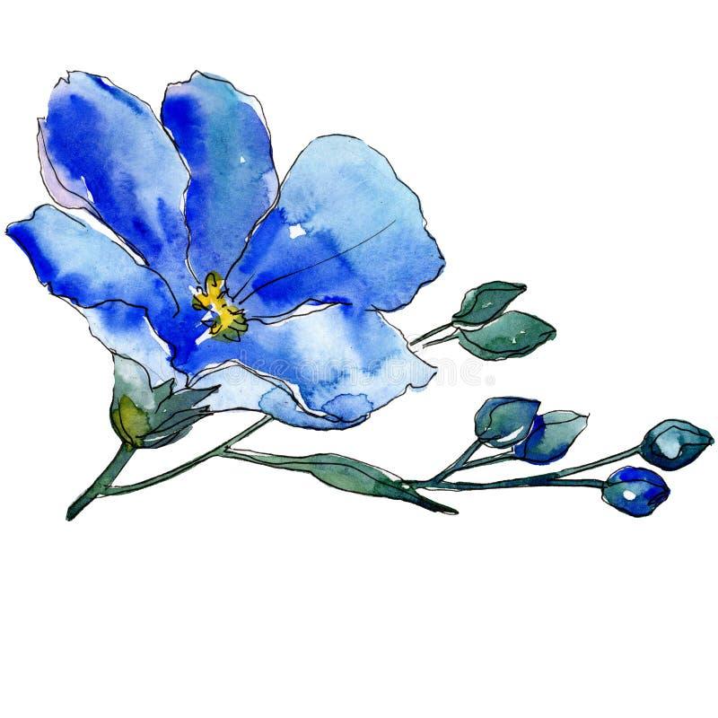 Fiore blu del lino con le foglie verdi ed i germogli Elemento isolato dell'illustrazione del lino Insieme della priorità bassa de illustrazione di stock
