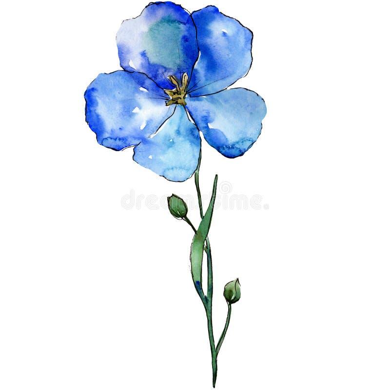 Fiore blu del lino con le foglie verdi ed i germogli Elemento isolato dell'illustrazione del lino Insieme della priorità bassa de royalty illustrazione gratis