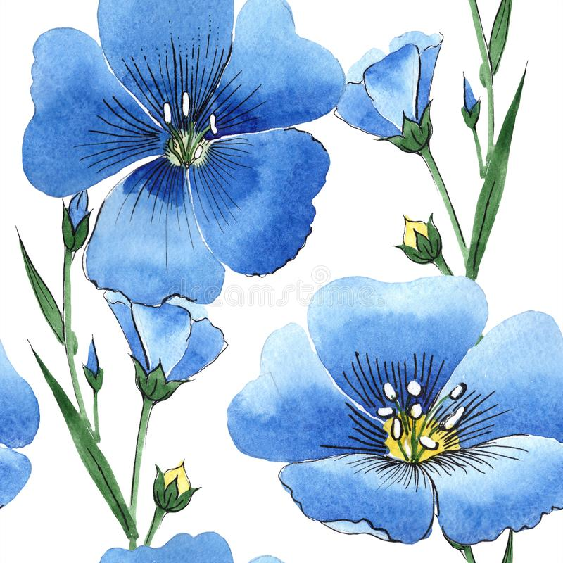 Fiore blu del lino dell'acquerello Fiore botanico floreale Modello senza cuciture del fondo royalty illustrazione gratis