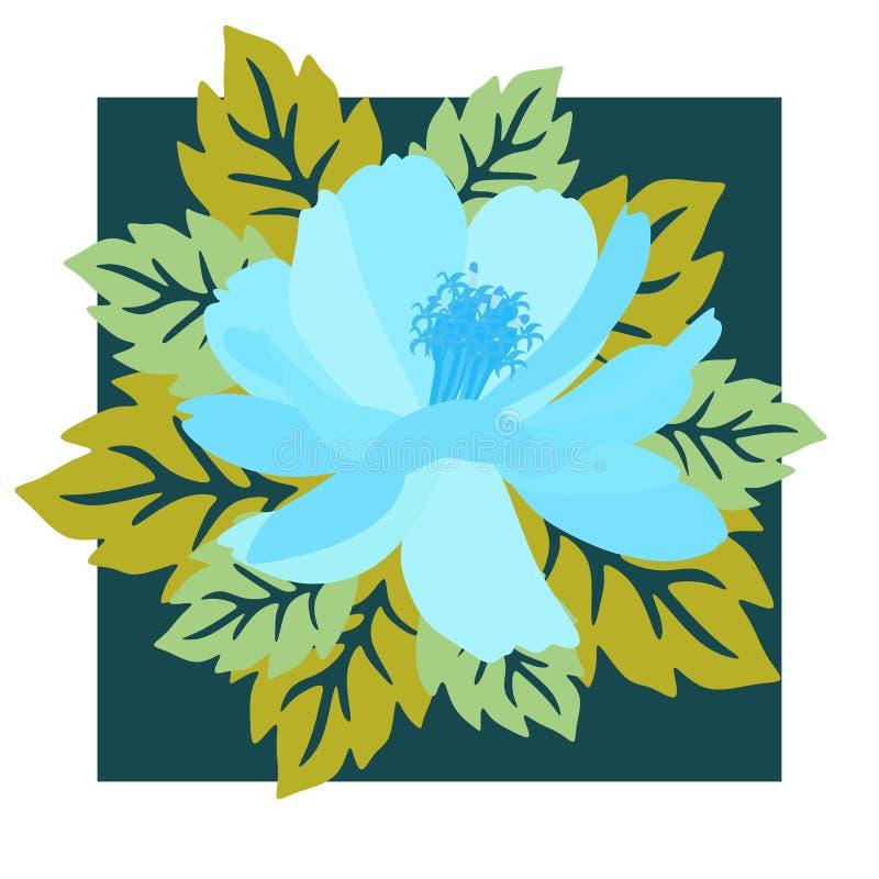 Fiore blu dell'universo di fantasia sulla cartolina d'auguri quadrata nel vettore Primavera o progettazione di estate illustrazione vettoriale