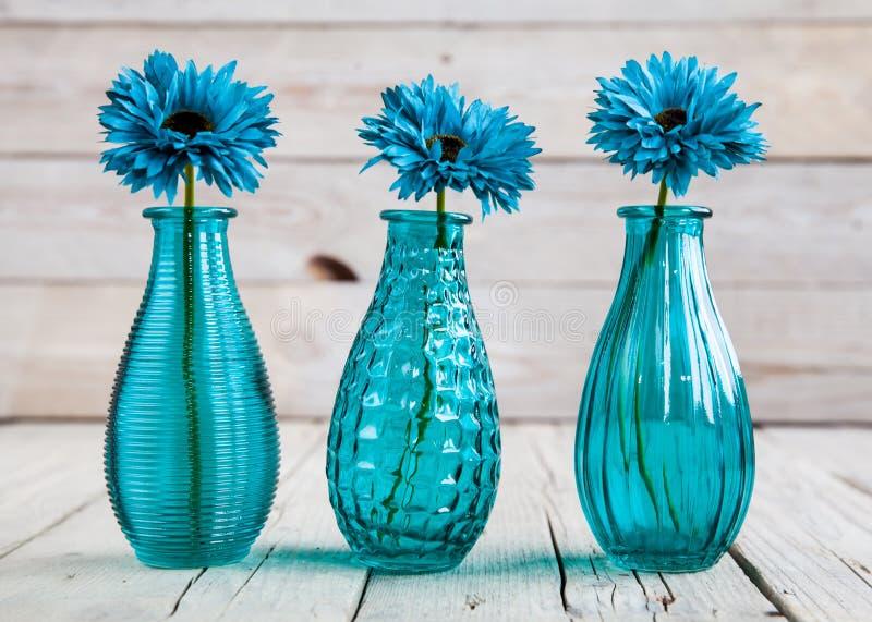Fiore blu della gerbera in un vaso su fondo di legno fotografie stock libere da diritti