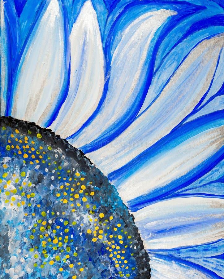 Fiore blu dipinto con gli acrilici illustrazione di stock