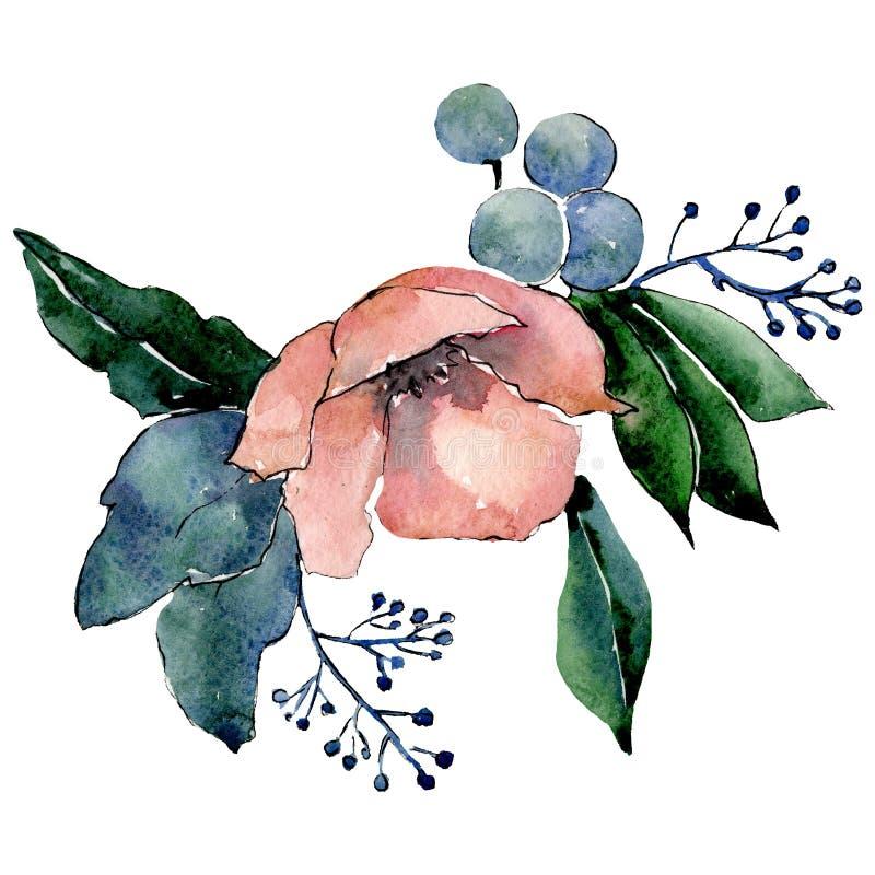 Fiore botanico rosso Elemento isolato dell'illustrazione del mazzo foglio verde Insieme della priorità bassa dell'acquerello illustrazione vettoriale