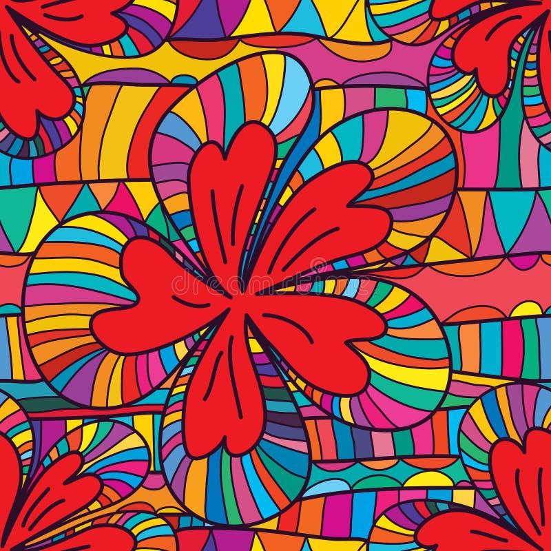 Fiore che disegna lo stesso modello senza cuciture illustrazione di stock