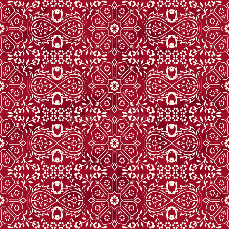 Fiore cinese rosso d'annata senza cuciture dell'incrocio della geometria della stella del fondo illustrazione vettoriale