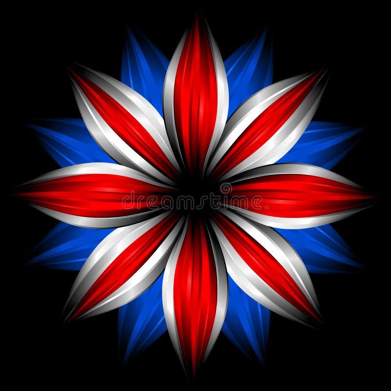 Fiore con i colori britannici della bandierina sul nero