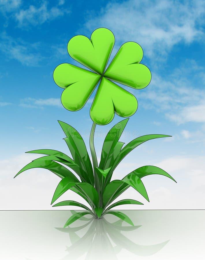 Fiore con il fiore del raccordo a quadrifoglio con il - Immagini di quadrifoglio a quattro foglie ...