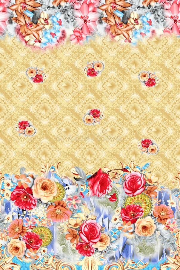 Fiore con il fondo geometrico del confine orizzontale royalty illustrazione gratis