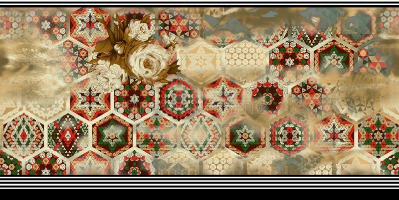 Fiore con il fondo geometrico del modello del confine orizzontale illustrazione vettoriale