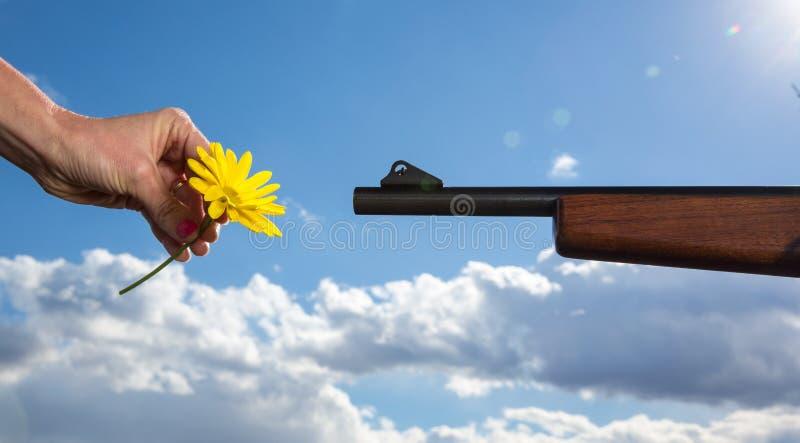 Fiore CONTRO la pistola immagine stock
