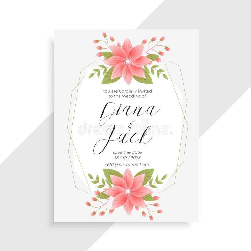 Fiore d'annata impressionante e modello floreale della partecipazione di nozze illustrazione di stock
