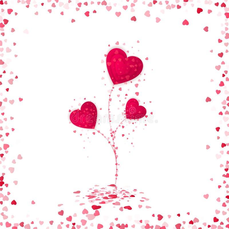 Fiore dai cuori di carta rossi Struttura sparsa romantica dei cuori Scheda di giorno di biglietti di S Illustrazione di vettore illustrazione di stock