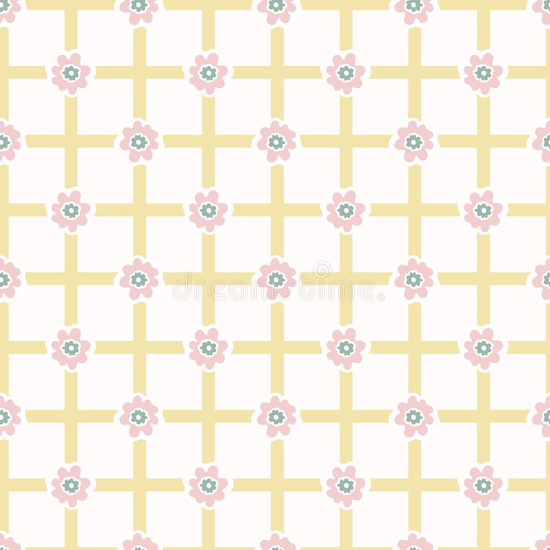 fiore Daisy Gingham Seamless Vector Pattern di stile degli anni 50 Geometrico disegnato a mano illustrazione vettoriale