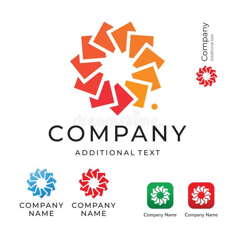 Fiore dall'annuncio pubblicitario di circonduzione di Logo Modern Identity Beautiful Brand dei quadrati e dal modello stabilito d illustrazione di stock