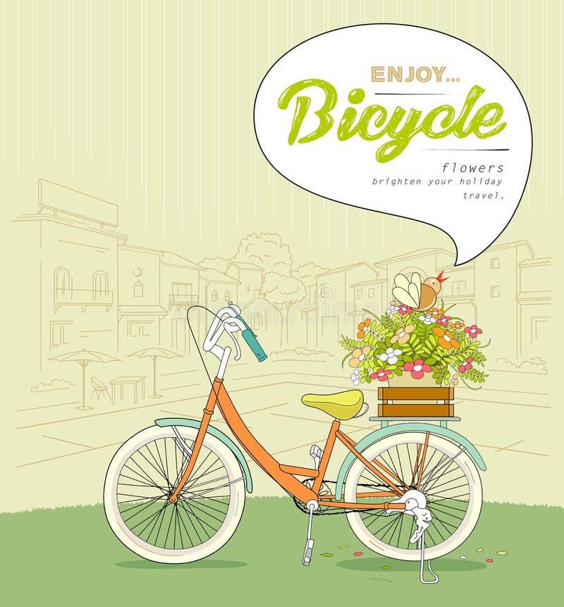 Fiore dei vasi della bicicletta che schizza la costruzione del paesaggio illustrazione vettoriale
