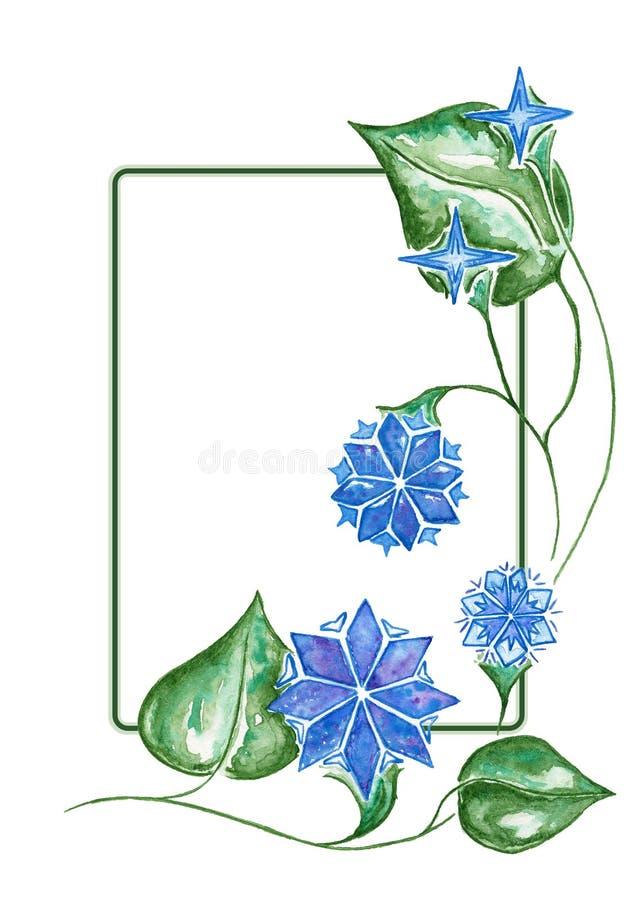 Fiore del blu di inverno Struttura dell'acquerello royalty illustrazione gratis