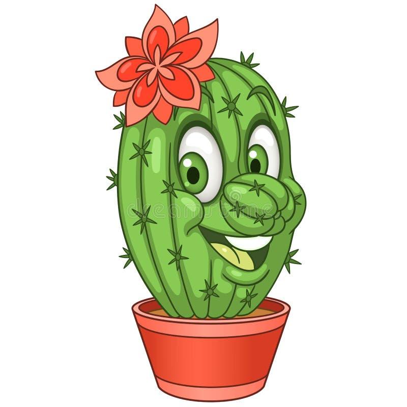 Fiore del cactus del fumetto illustrazione di stock