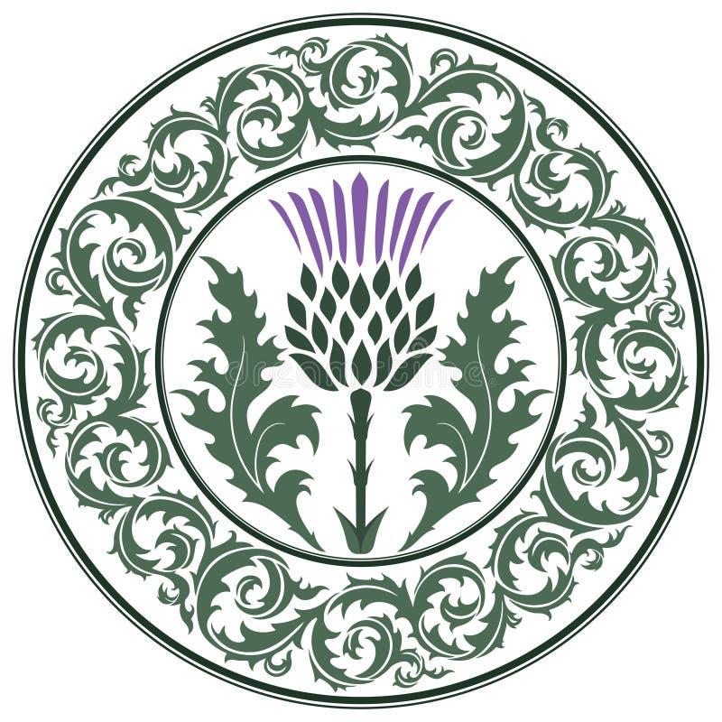 Fiore del cardo selvatico e cardo selvatico rotondo della foglia dell'ornamento Il simbolo della Scozia illustrazione vettoriale