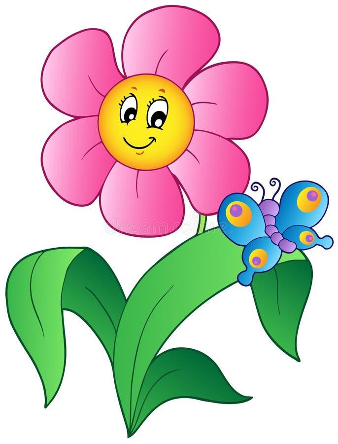 Fiore del fumetto con la farfalla illustrazione di stock