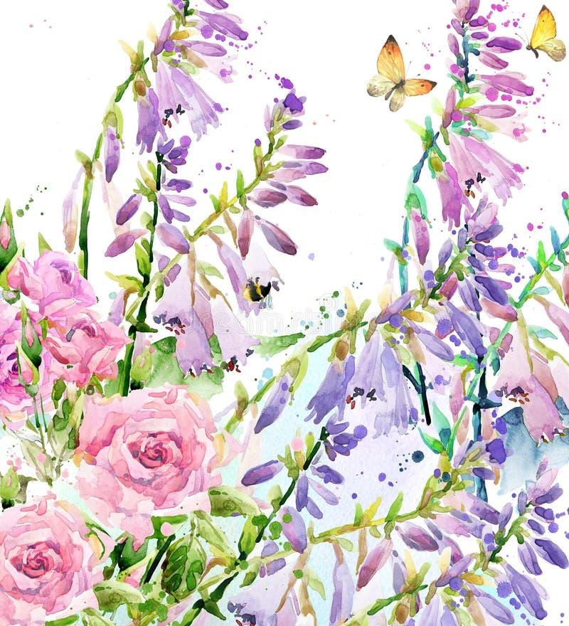 Fiore del giardino dell'acquerello Illustrazione rosa dell'acquerello Fondo del fiore dell'acquerello illustrazione vettoriale