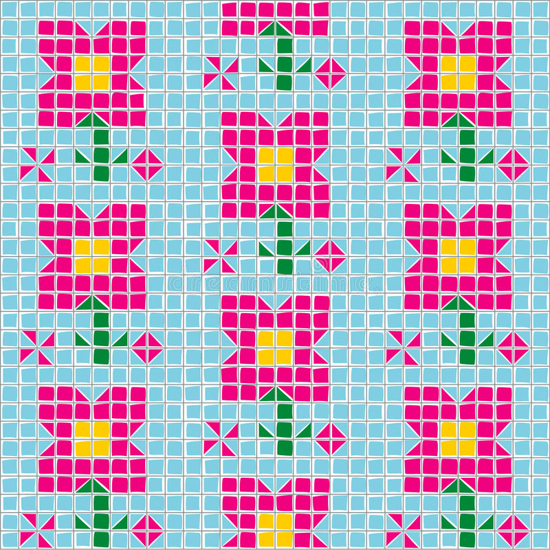 Fiore del mosaico di vettore illustrazione vettoriale - Modello di base del fiore ...
