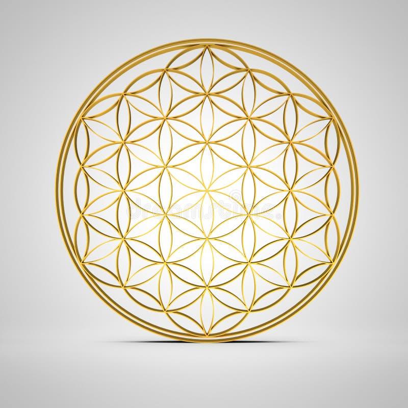 fiore del segno 3D dell'oro 2 di vita illustrazione di stock